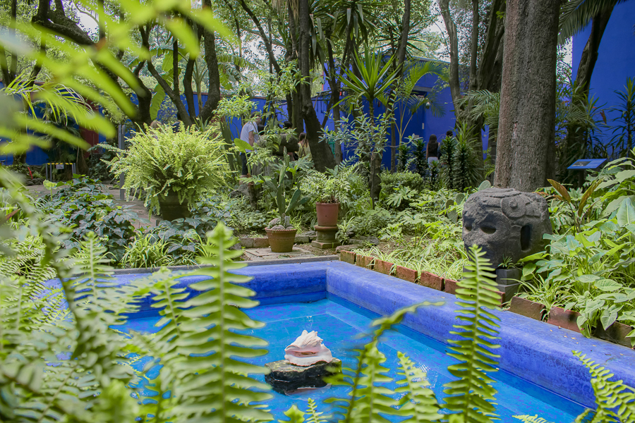 Ferns and lush gardens surround a wading pool with a conch shell in the center at Casa Azul, the former home of the late Frida Kahlo in Mexico City, Mexico.