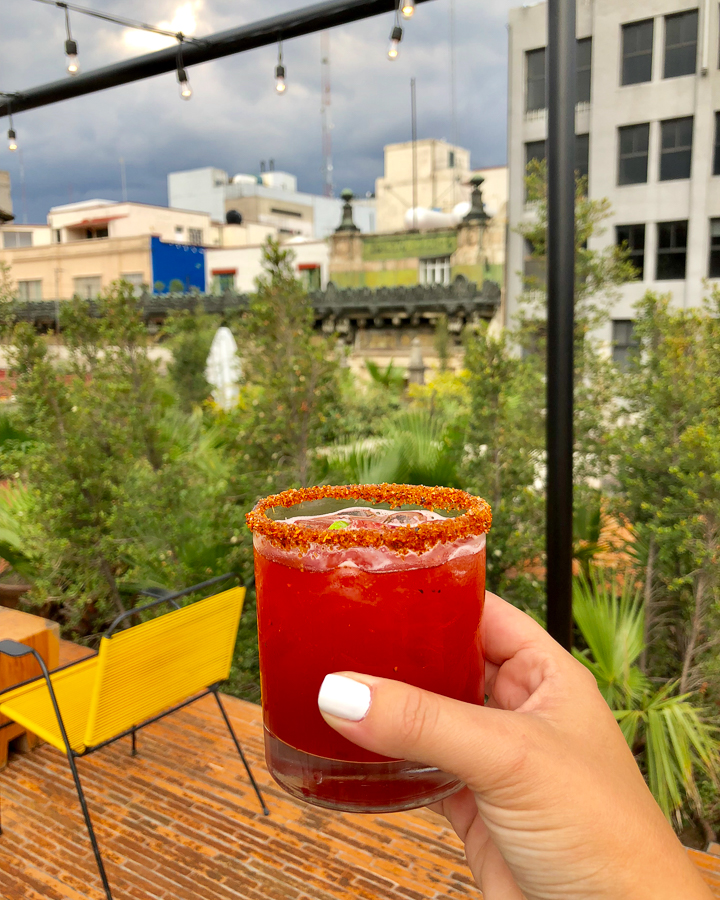 A mescal and jamacia (hibiscus) cocktail with a view at the downtown Mexico hotel